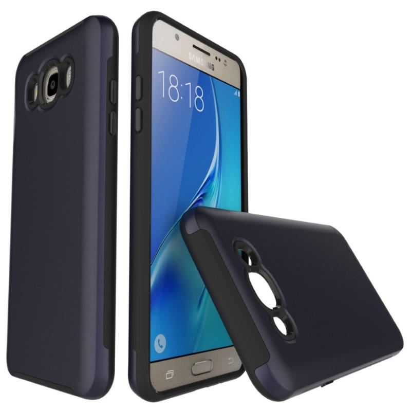 Voor Galaxy J7(2016) / J710 Simple geborsteld textuur 2 in 1 PC + TPU combinatie beschermende Case (donker blauw)