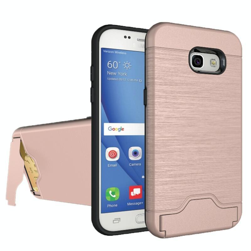 Voor de Galaxy A5 (2017) / A520 geborsteld textuur scheidbaar PC + TPU beschermende combinatie back cover met houder & kaartslot (Rose goud)