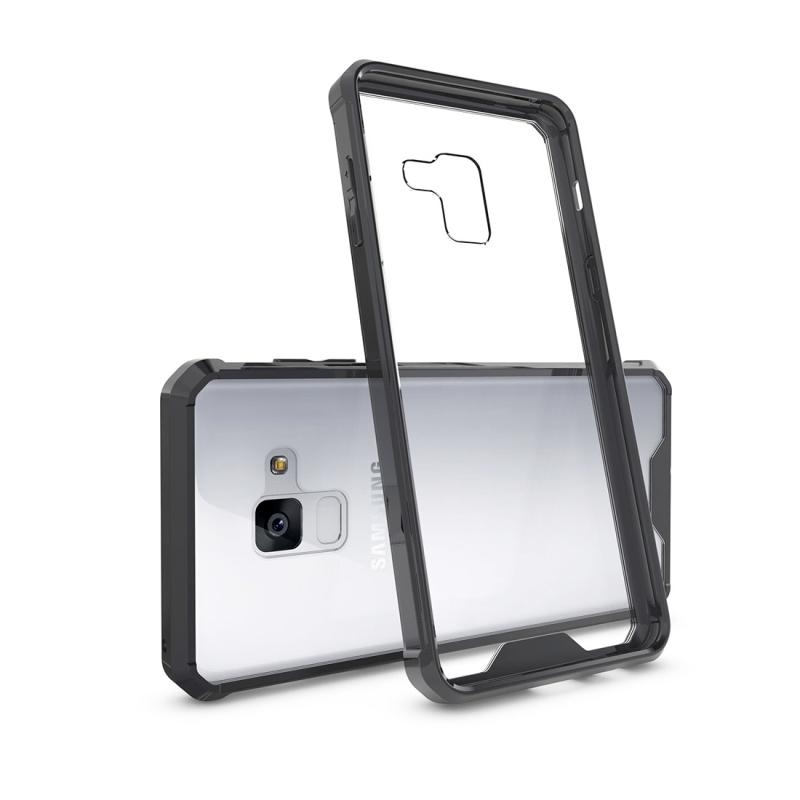 Voor Galaxy A8 PLUS (2018) Cover acryl + TPU schokbestendige transparant Armor beschermende Back Case(Black)