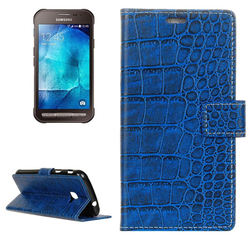 For Galaxy Xcover 4 / G390F Crocodile Texture Horizontal Flip Leather Case with Holder & Card Slots & Wallet (Blue)