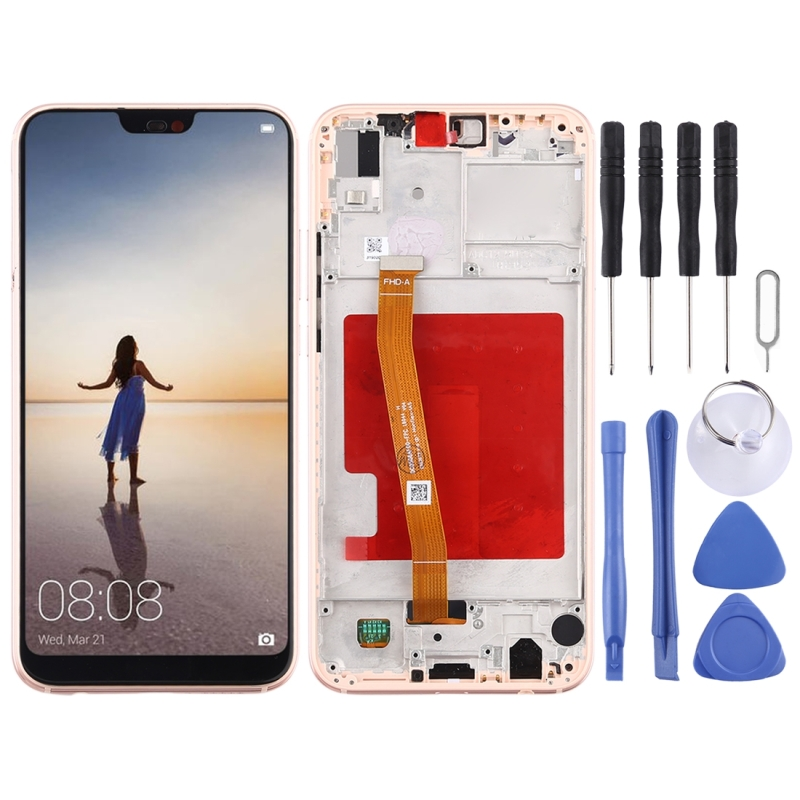 LCD Screen and Digitizer Full Assembly with Frame for Huawei P20 Lite / Nova 3e(Pink)