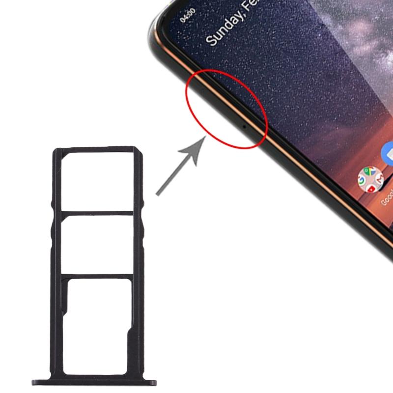 SIM Card Tray + SIM Card Tray + Micro SD Card Tray for Nokia 3.2 TA-1156 TA-1159 TA-1164 (Black)