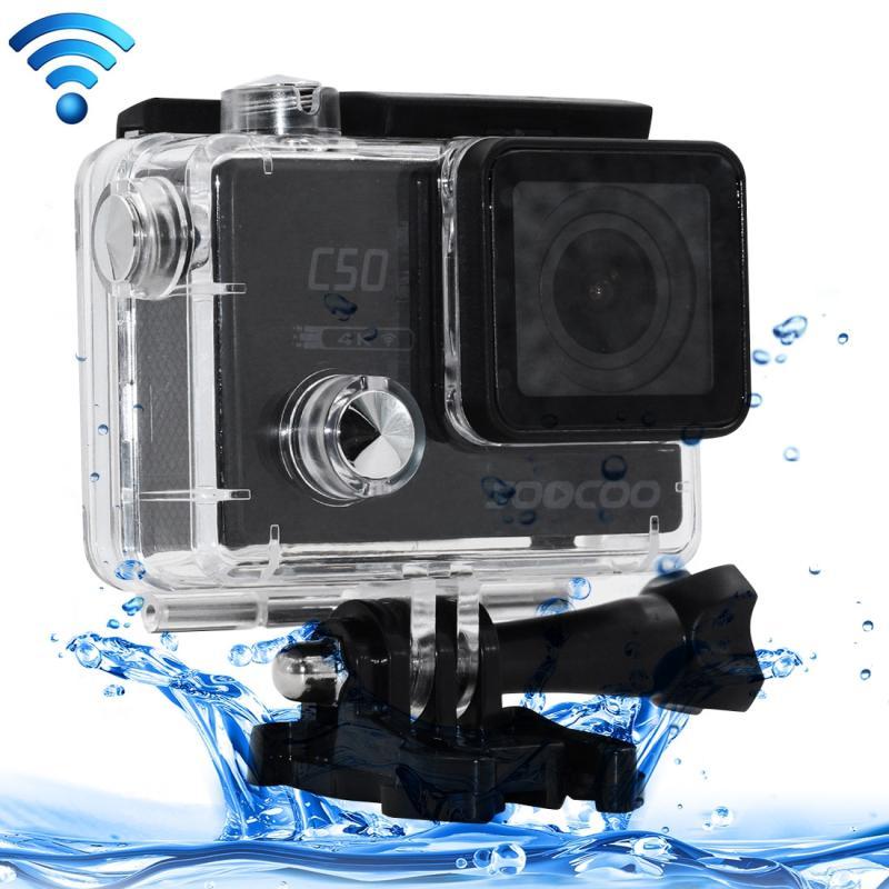 SOOCOO C50 4K HD 2-inch LCD-scherm 12MP WiFi Sport actie Camera Camcorder ontmoet Waterdicht hoesje, 170 graden brede hoeklens, ondersteuning van 64 GB Micro SD-kaart, HDMI Output(zwart)