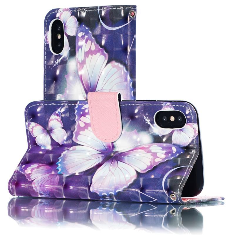 3D patroon gekleurde tekening horizontale Flip lederen case voor de iPhone X/XS  met houder & card slots & portemonnee & Lanyard (paarse vlinder)