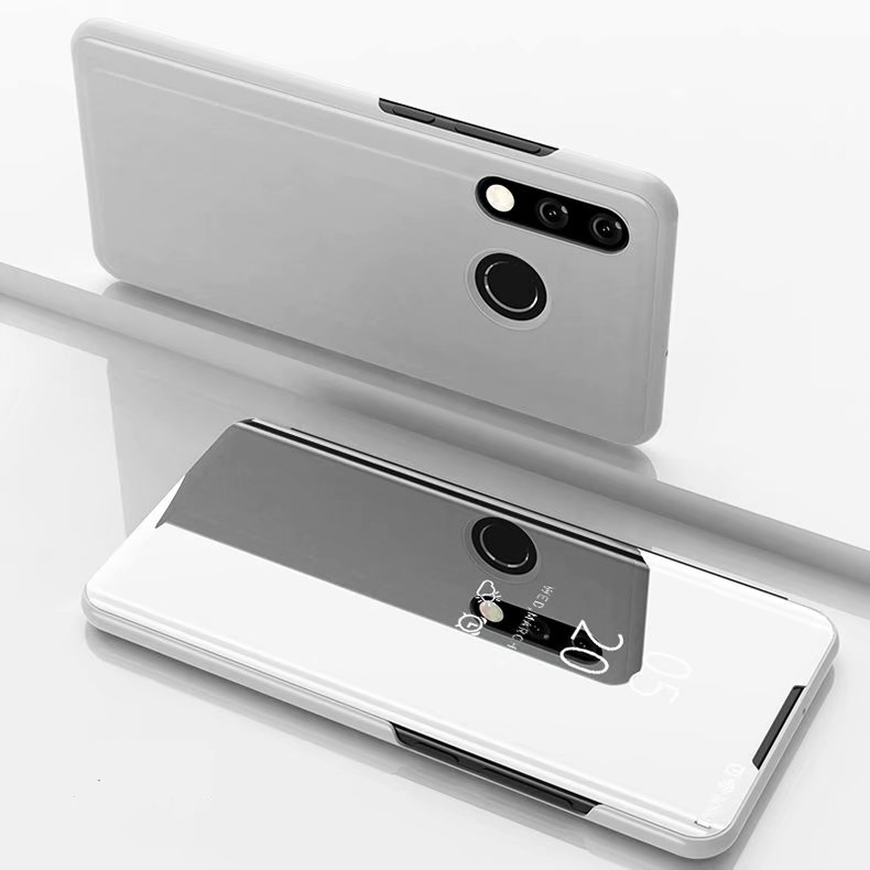 Electroplating Mirror Horizontal Flip Leather Case for Huawei P30 Lite / Nova 4e  with Holder(Silver)