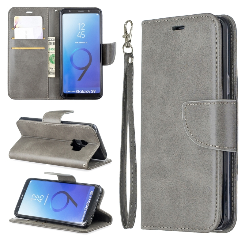 Retro Lambskin Texture Pure Color Horizontal Flip PU Leather Case for Galaxy S9  with Holder & Card Slots & Wallet & Lanyard(Grey)