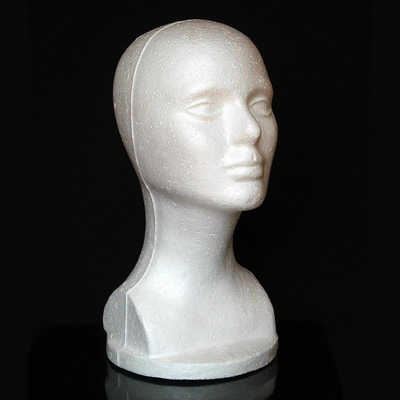 Afbeelding van Vrouwelijke model hoofd piepschuim hoed bril haar pruik display mannequin stand