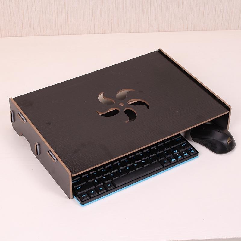 Afbeelding van Houten standaard met toetsenbord kabel slot voor computer monitor/laptop (zwart)