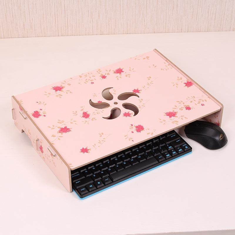Afbeelding van Houten standaard met toetsenbord bedrading sleuf voor computer monitor/laptop (bloem)