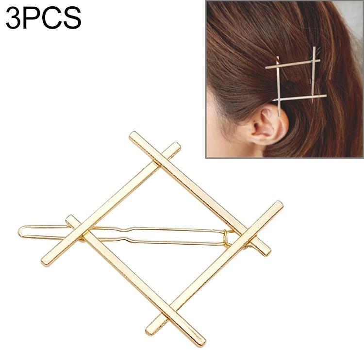 Afbeelding van 3 stuks glossy cross vier-zijdige haar clips spelden meisjes geometrie schattig haar clip delicate haar PIN haar decoraties Sieraden accessoires (goud)