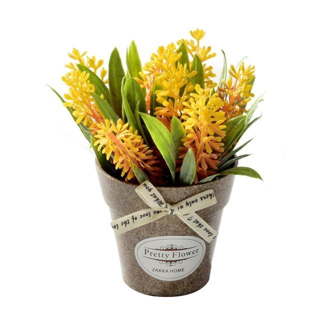 2 PC'S nep bloemen gras met kunststof kunst Potted bloemen voor rustieke tuin boerderij decoratie (oranje)