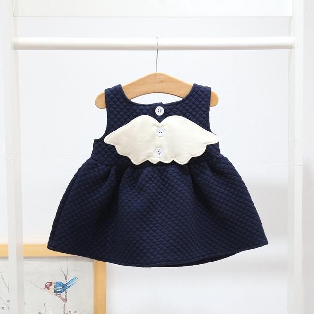 Afbeelding van Meisjes vleugels katoen mouwloos jurk prinses jurk Kid grootte: 98cm (blauw)