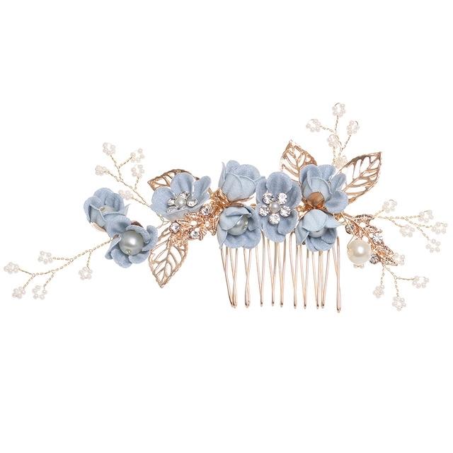 Afbeelding van Mode bloem haar kammen hoofdtooi Prom Bridal Wedding haaraccessoires goud laat haar sieraden haar pinnen (blauw grote maat)
