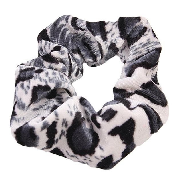 Afbeelding van 2 PC's Velvet Leopard haar Ring goud fluwelen hoofdband Flanel haar Band haarbal haren zak Flower(Piebald)