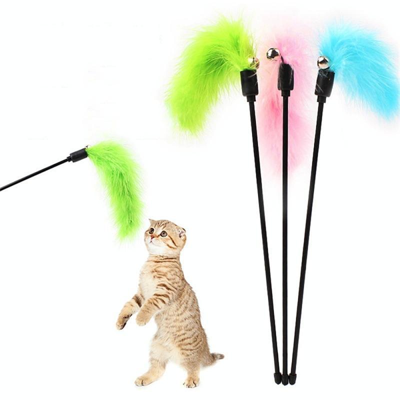 Afbeelding van Huisdier interactieve speelgoed kleurrijke veren plagen kat stick interactieve kat speelgoed Feather speelgoed huisdier benodigdheden (willekeurige kleur levering)