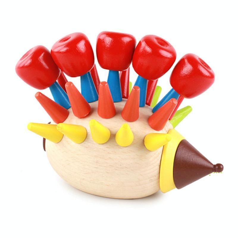 Afbeelding van Creatieve DIY Magnetische kleurrijke Hedgehog speelgoed houten bouwstenen kinderen speelgoed