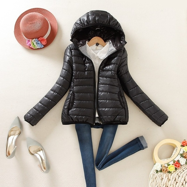Warme Winter Parka Jas Dames Slim Korte Jas  Maat:L(Zwart)