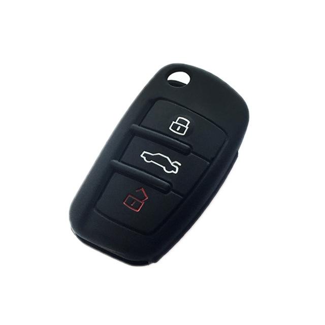 Afbeelding van 2 stks autosleutel cover silicone Flip sleutel afstandsbediening houder Case cover voor Audi Q3 a3 a1 (zwart)