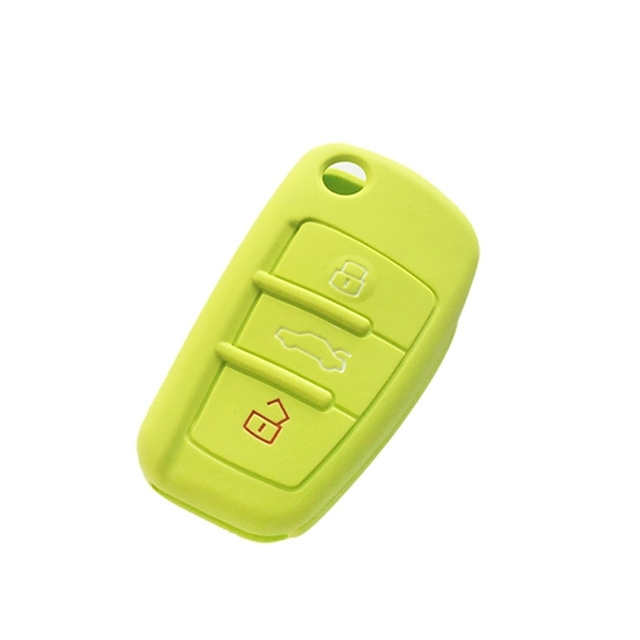 Afbeelding van 2 PC'S autosleutel cover silicone Flip sleutel afstandsbediening houder Case cover voor Audi Q3 a3 a1 (groen)
