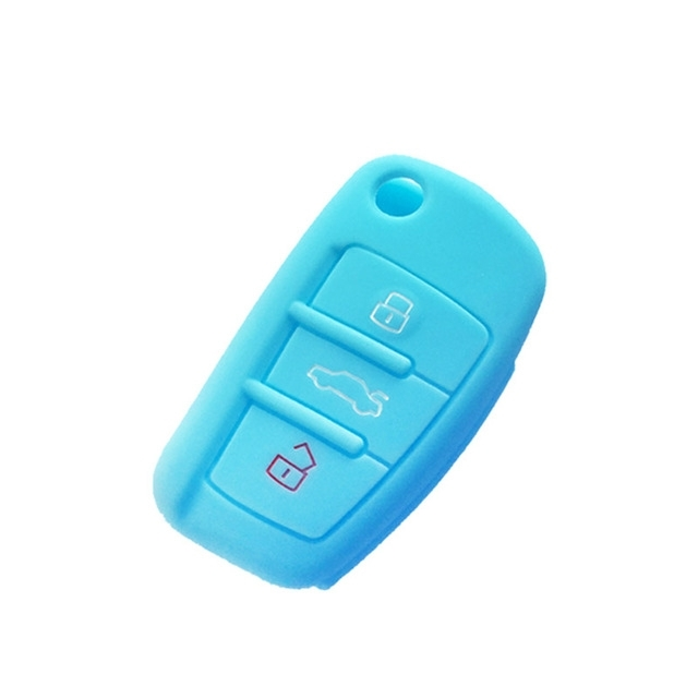 Afbeelding van 2 PC'S autosleutel cover silicone Flip sleutel afstandsbediening houder Case cover voor Audi Q3 a3 a1 (blauw)
