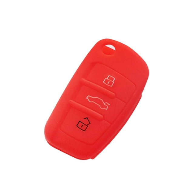 Afbeelding van 2 PC'S autosleutel cover silicone Flip sleutel afstandsbediening houder Case cover voor Audi Q3 a3 a1 (rood)