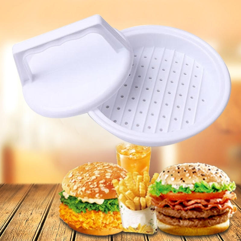 Afbeelding van 10 stuks ronde vorm Hamburger Presser plastic Hamburger rundvlees Grill burger pers Patty Maker Mold mould