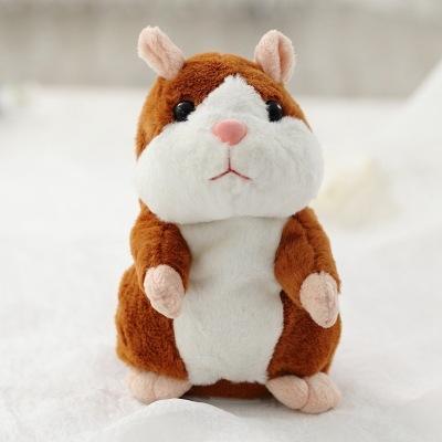 Afbeelding van 2019 lovely praten weinig Hamster speelgoed voor kinderen spreken pratende geluid Record Hamster vibrerende knikte muis speelgoed knuffel (licht bruin 15CM)