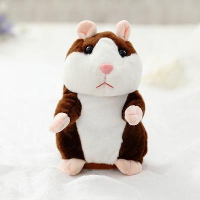 Afbeelding van 2019 lovely praten weinig Hamster speelgoed voor kinderen spreken pratende geluid Record Hamster vibrerende knikte muis speelgoed knuffel (donker bruin 15CM)