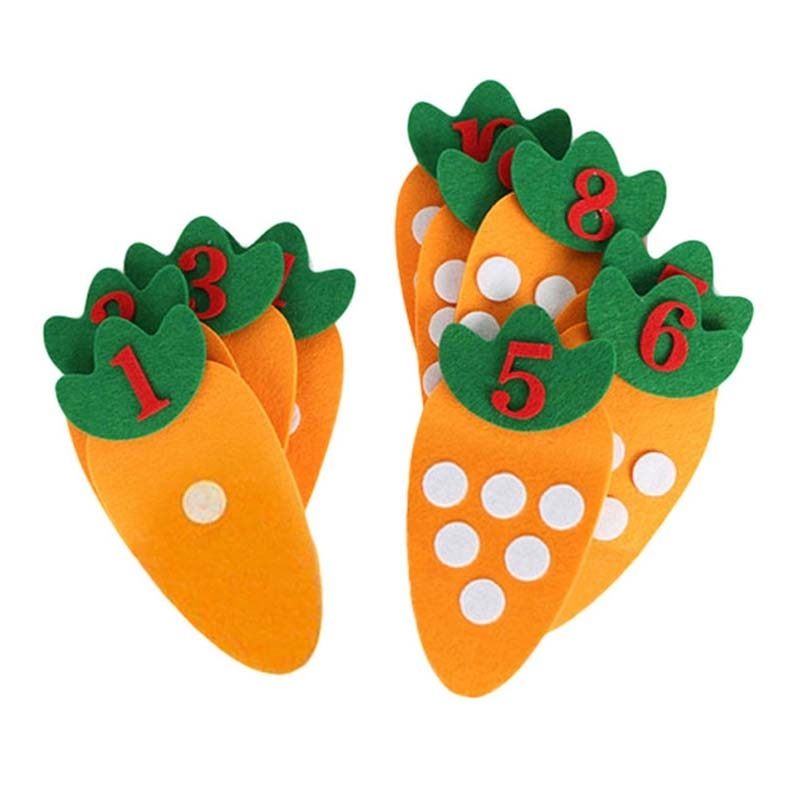 Afbeelding van Educatief speelgoed non-woven kinderen puzzel handgemaakte DIY creatief speelgoed kleuterschool wortel digitale leermiddelen