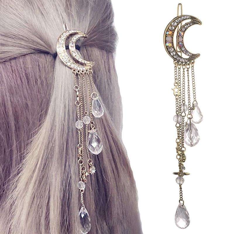 Afbeelding van Mode elegante vrouwen Lady Moon Rhinestone Crystal kwastje lange ketting kralen Dangle haar haar clip haar sieraden (brons)