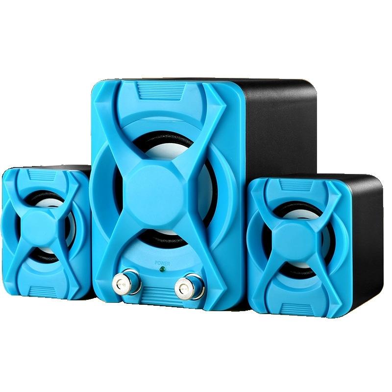 Afbeelding van Bedrade computer speaker subwoofer stereo Bass USB 2 1 Speaker 3D-sfeer PC Portable Speakers voor laptop notebook computer (blauw)