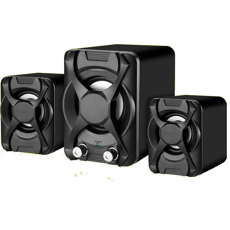 Afbeelding van Bedrade computerluidspreker subwoofer stereo bas USB 2.1-luidspreker 3D-sfeer PC draagbare luidsprekers voor laptop laptop laptop computer(zwart)