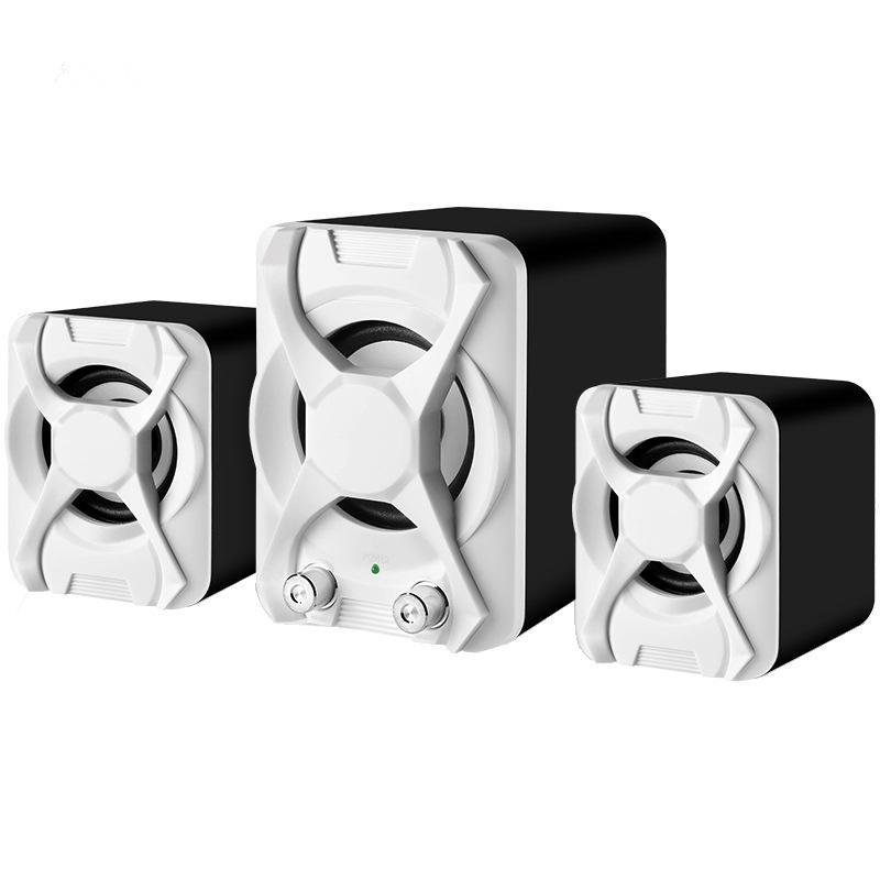 Afbeelding van Bedrade computerluidspreker subwoofer stereo bas USB 2.1-luidspreker 3D-sfeer PC draagbare luidsprekers voor laptop laptop laptop computer(wit)
