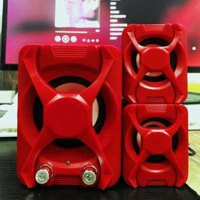 Afbeelding van Bedrade computerluidspreker subwoofer stereo bas USB 2.1-luidspreker 3D-sfeer PC draagbare luidsprekers voor laptop laptop laptop computer(rood)
