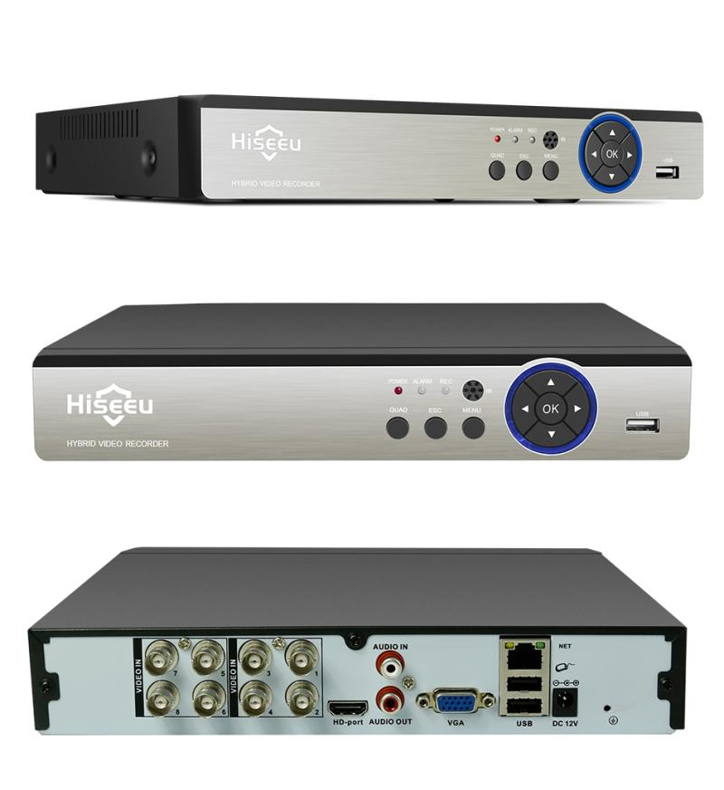 Hiseeu 8-Channel AHD DVR Recorder Foreign Trade Video Recorder Iron Shell Recorder