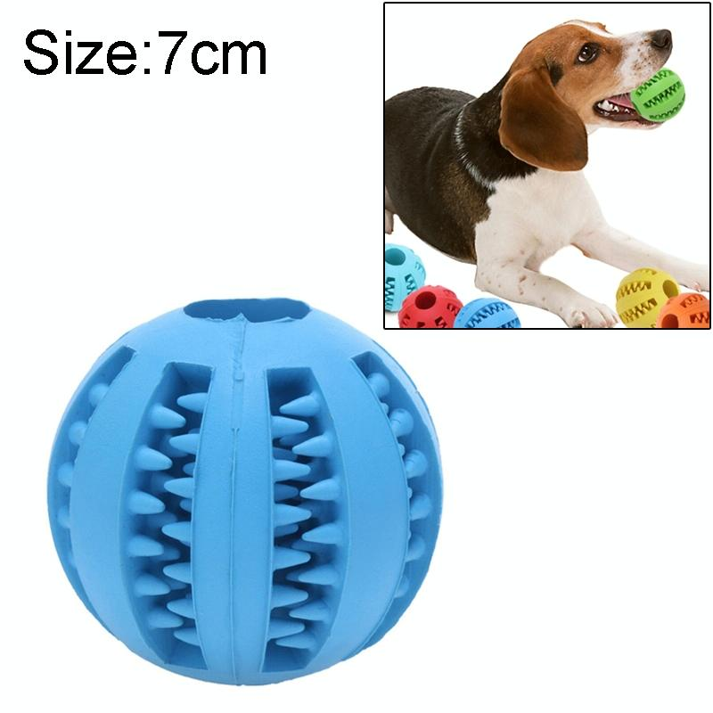 Afbeelding van Hond huisdier speelgoed interactieve Rubber ballen hond kat Puppy elasticiteit tanden bal hond kauwen speelgoed tand schoonmaken ballen speelgoed voor honden grootte: 7 cm (donkerblauw)