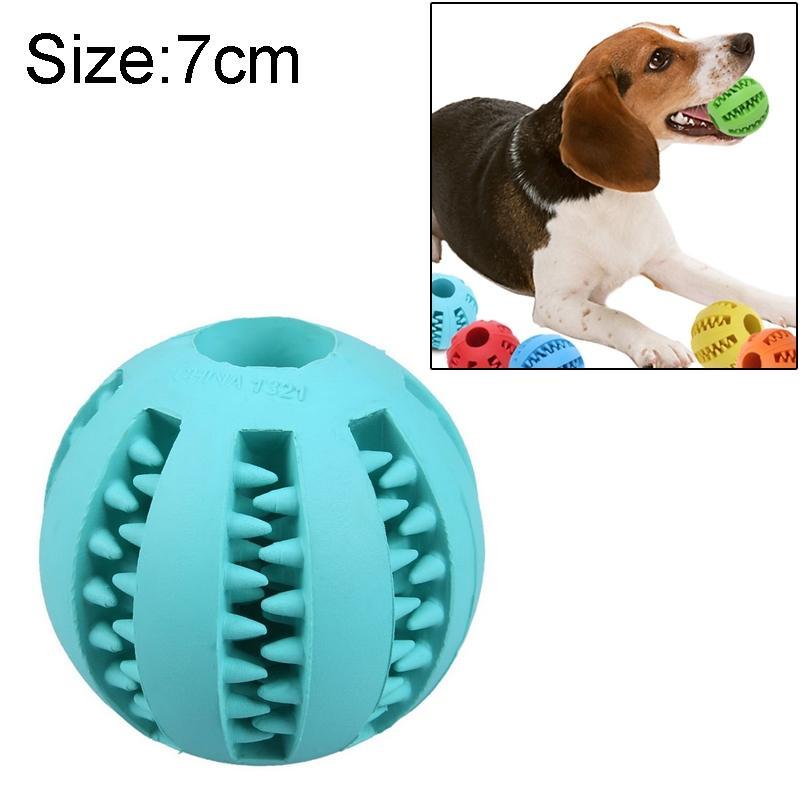 Afbeelding van Hond huisdier speelgoed interactieve Rubber ballen hond kat Puppy elasticiteit tanden bal hond kauwen speelgoed tand schoonmaken ballen speelgoed voor honden grootte: 7 cm (lichtblauw)