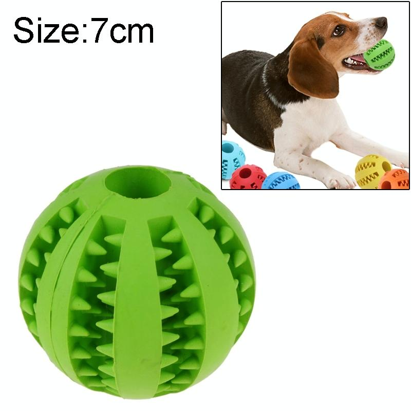 Afbeelding van Hond huisdier speelgoed interactieve Rubber ballen hond kat Puppy elasticiteit tanden bal hond kauwen speelgoed tand schoonmaken ballen speelgoed voor honden grootte: 7 cm (groen)