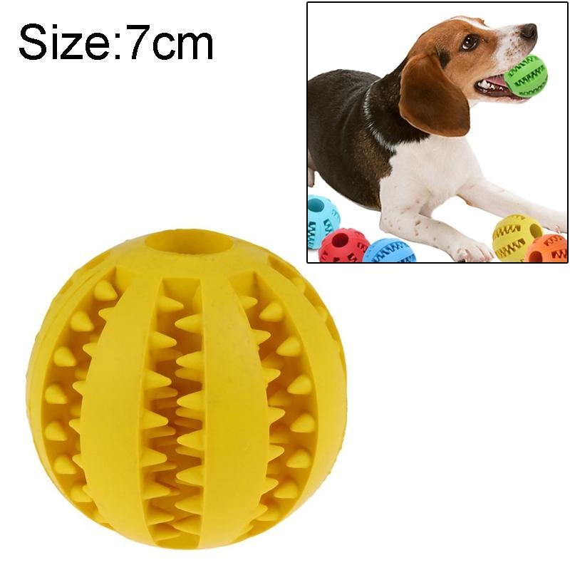 Afbeelding van Hond speelgoed interactieve Rubber ballen huisdier hond kat Puppy elasticiteit tanden bal hond speelgoed tand schoonmaken ballen speelgoed kauwen voor honden grootte: 7 cm(Yellow)