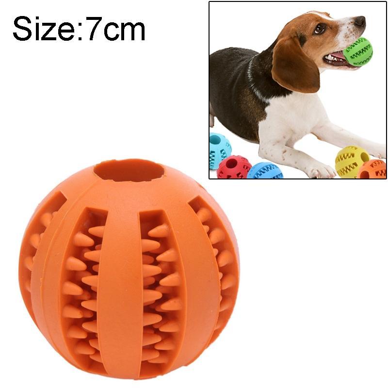 Afbeelding van Hond speelgoed interactieve Rubber ballen huisdier hond kat Puppy elasticiteit tanden bal hond speelgoed tand schoonmaken ballen speelgoed kauwen voor honden grootte: 7 cm(Orange)