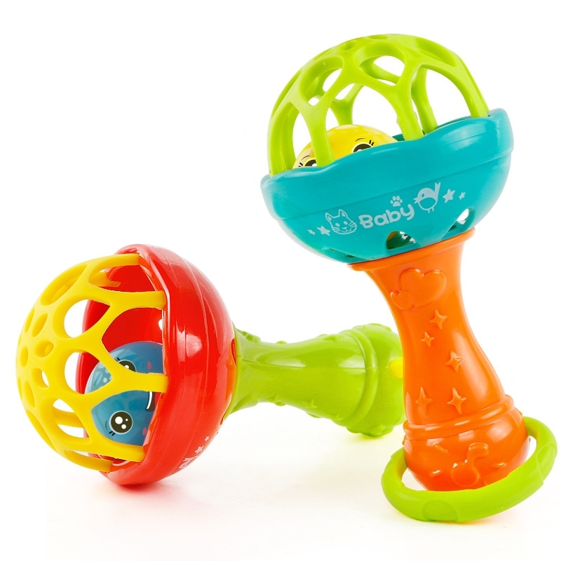 Afbeelding van Baby rammelaars speelgoed intelligentie grijpen tandvlees kunststof Hand Bell Rattle grappige educatief speelgoed kleur willekeurige levering