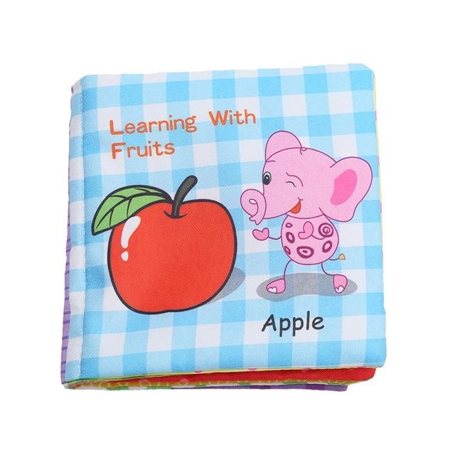 Afbeelding van Baby rammel speelgoed zachte dierlijke doek boek pasgeboren wandelwagen opknoping speelgoed vroeg leren onderwijs baby speelgoed (fruit)