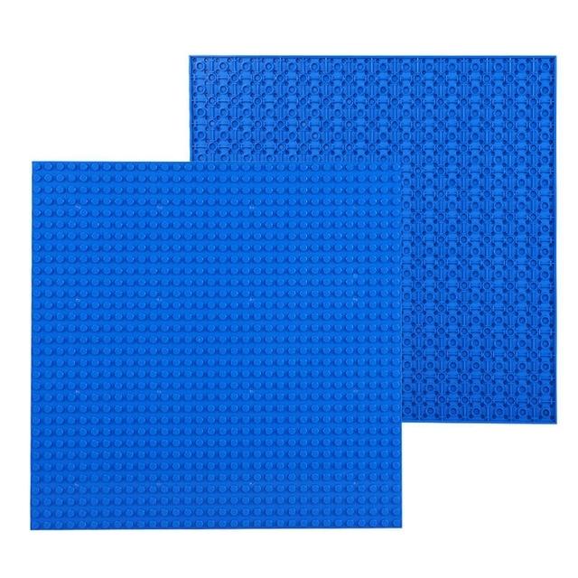 32 * 32 kleine deeltje DIY Building Block bodemplaat 25.5 * 25.5 cm bouwsteen muur accessoires speelgoed voor kinderen (blauw)