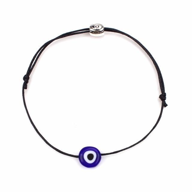 Lucky Evil Eye Armbanden voor vrouwen 6 kleuren handgemaakte gevlochten touw Lucky Jewelry rode armband vrouwelijk (zwart)
