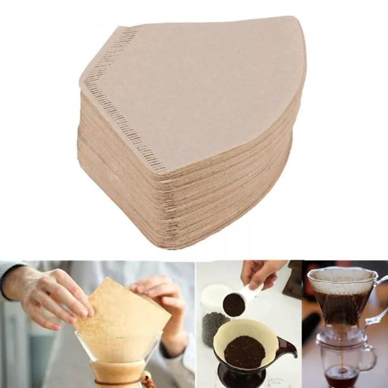 Afbeelding van 100 stuks/tas houten originele hand DRIP papier koffiefilter koffiefilter Pack theezakje zeef