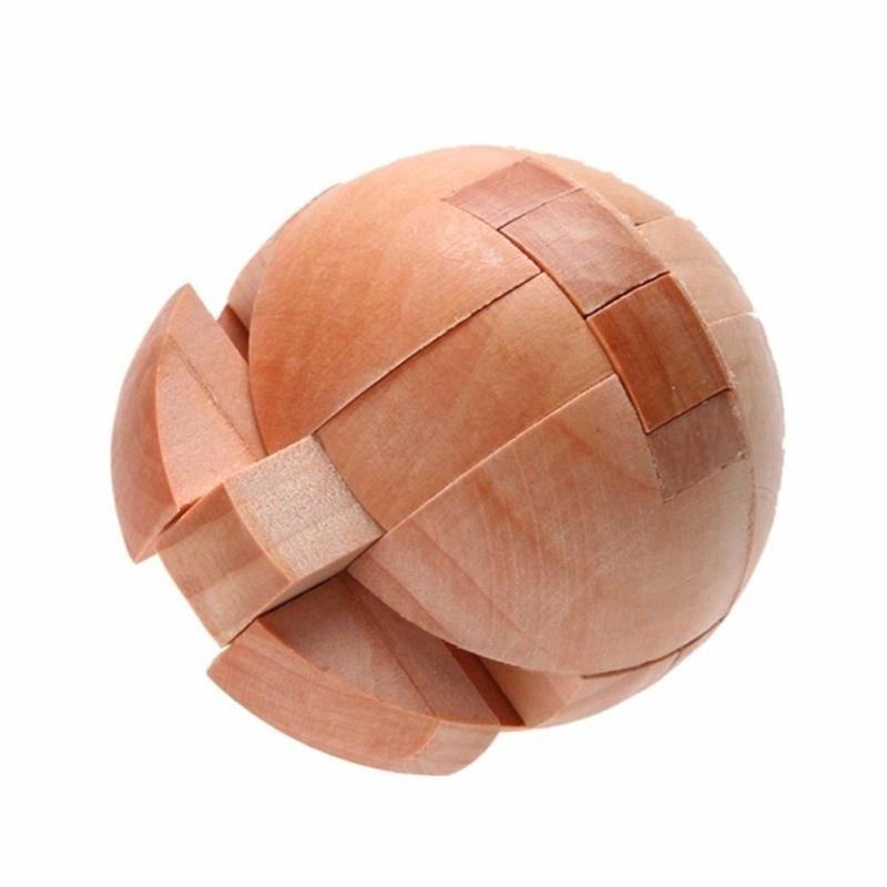 Afbeelding van Houten volwassen educatief speelgoed bal-vormig slot puzzel speelgoed