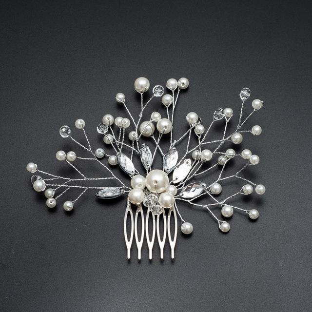 Afbeelding van Haar parel vrouwen kammen bruiloft haar accessoires Hair Pin Rhinestone Tiara bruids Clip Crystal Crown bruid haar Jewelry(Silver)