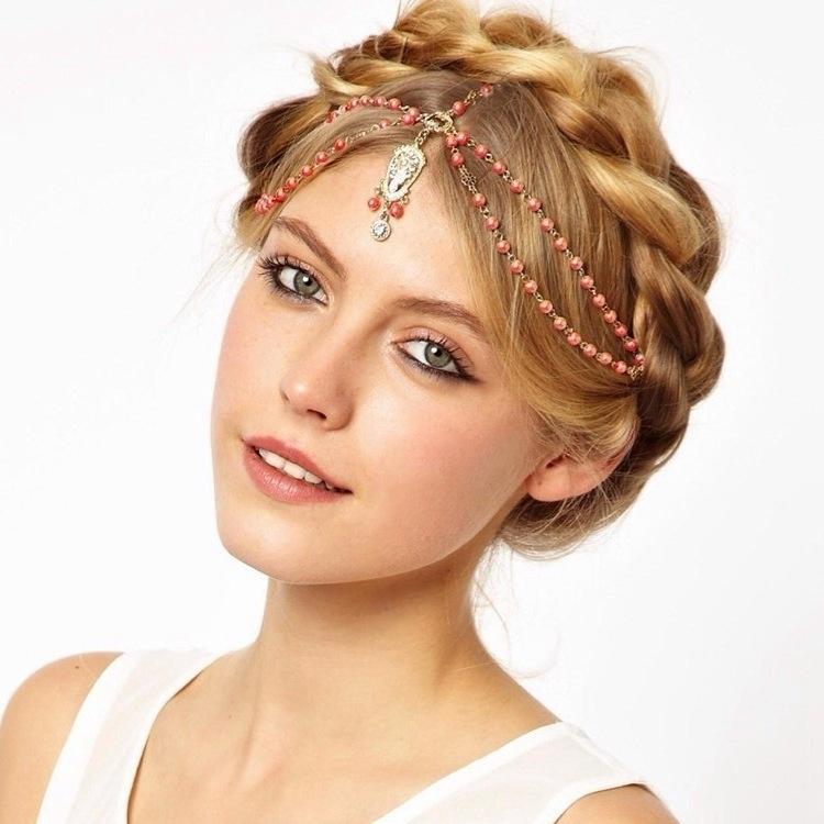 Afbeelding van Hair decoratie haar band hoofd jurk hoofdbanden mode Indiase Boho kralen hoofdstuk vrouwenhoofd ketting haar sieraden