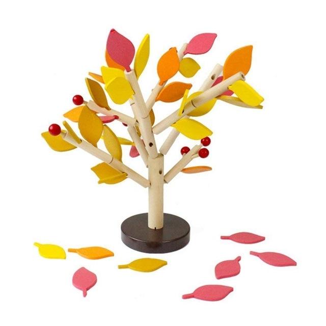 Afbeelding van Houten puzzel invoegen blokken boom speelgoed kinderen IQ training speelgoed (geel)