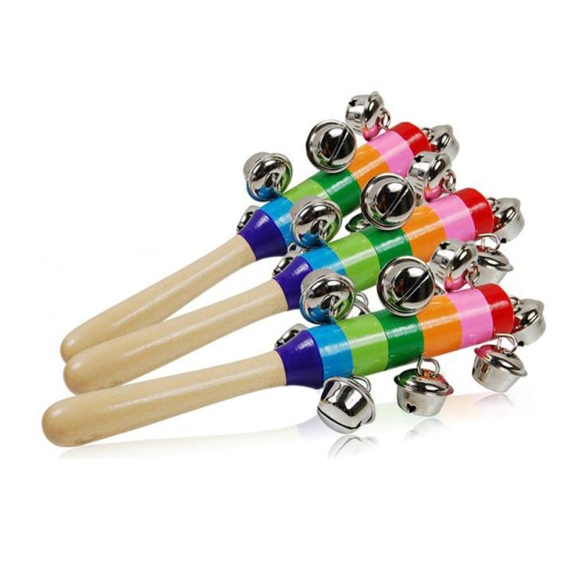 Afbeelding van Baby cute Jingle rammel bels speelgoed Rainbow Pram wieg handvat houten Bell stick Shake speelgoed pasgeboren baby rammelaar geluid speelgoed (zoals show)